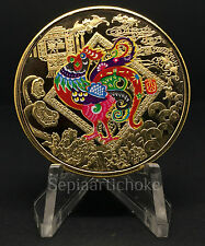 Chino Dorado Año del Gallo 2017 Zodiac Moneda Color Recargado 40mm 14.3 gramos