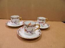 3 Bernardaud Limoges Rouen Demitasse Cups & Saucers Hand Painted Vintage