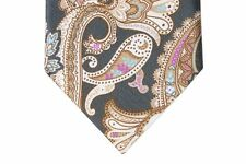 Brioni Tie Brown with tan paisleys, pure silk