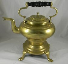 Antique Early 19th Century Brass Tea Kettle on Stand 1820