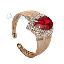 Fashion Women Golden Red Gold Plated Crystal  Waterdrop Bangle Cuff Bracelet&1