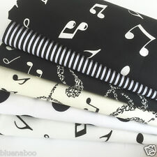 Bundle 6 fat quarters 100%  cotton musical notes Black, ivory & white