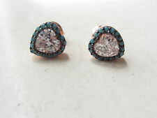 NEW ROSE GOLD TURQUOISE TOPAZ 925K STERLING SILVER HEART STUD EARRINGS HANDMADE