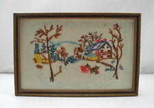 Vintage Framed Snow Scene Horses & Sleigh Finished Embroidery