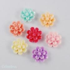 12 x  Resin Flower Cabochons 20mm - Flat Back- Mixed Colours - CAB40