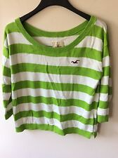 Womens Green And White Hollister Jumper Uk Size Large