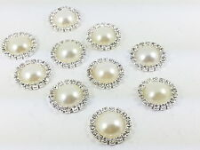 MT13-10pcs 18mm ROUND Stick On Metal Diamante & Pearl Wedding Crystal Toppers