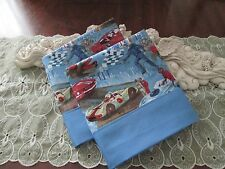 COUNTRY COTTAGE KIDS SET OF TWO ON THE RACETRACK WITH THE RACECARS PILLOWCASES