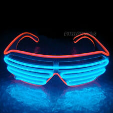 Hot Wire Neon LED Light Up Shutter Shaped Glasses for Costume Party Red+BlAO AO