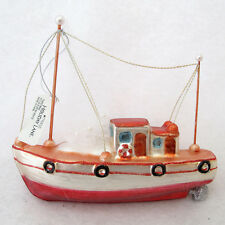 Fishing Boat Christmas Ornament Glass Nautical Macys Holiday Lane New with Tags