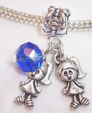 Twin Girls September Baby Birthstone Crystal Dangle Bead for Euro Charm Bracelet