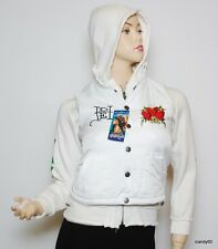 Nwt Ed Hardy Girls Nylon/Cotton Hearts Hoodie Jacket Vest Top ~White *L (12)