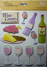 NEW 11 pc WINE STICKER MEDLEY Wine Country Grapes Vin White Red Bread K & CO 3D