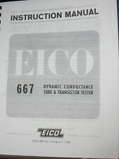 Manual for EICO 667 Tube Tester (With Roll Style), Charts: 7712, 7315 & 667-05