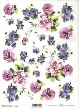 Rice Paper for Decoupage Scrapbooking, Purple Violet Flover Roses ITD R093