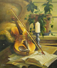 Oil Painting of Still Life Candle on Stand Violin on Book in Living Room 20x24""