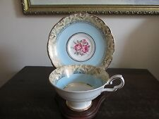 Royal Stafford Bone China England Tea Cup And Saucer Roses Turquoise Blue Gold