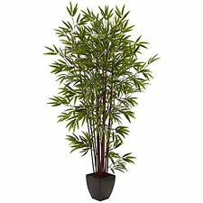 Nearly Natural 5459 Bamboo Silk Tree with Planter- 6' NEW