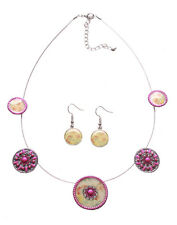 Enigmatic Fuchsia/Pink Flower Enamel Print Necklace & Earrings Set (Ns14)