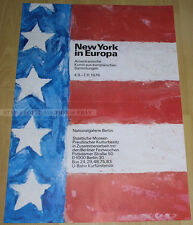 GERMAN EXHIBITION POSTER 1976 - NEW YORK IN EUROPE - AMERICAN ART STARS STRIPES