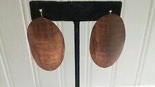 Vintage Solid Copper Waffle Textured Oval Wire Pierced Earrings