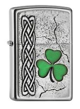 "ZIPPO ""IRISH SHAMROCK"" SATIN FINISH EMBLEM LIGHTER * NEW in BOX *"