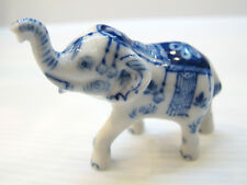 Feng Shui Miniature Collectible Ceramic Lucky Siam BLUE ELEPHANT Figurine Statue