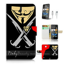 HTC Desire 310 Print Flip Wallet Case Cover! V for Vendetta Mask P0067