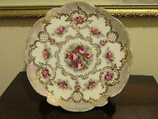 Vintage Imperial Crown China Austria Handpainted Plate Roses Gold