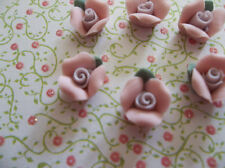 Sweet Pink Ceramic Rose Cabochons Flowers Flat Backs 8mm with Green Leaf - Qty 6
