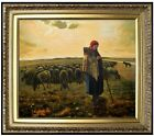 Framed, Millet Shepherdess & Her Flock Repro, Hand Painted Oil Painting 20x24in