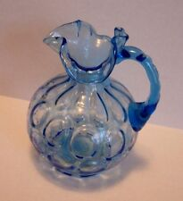 Fenton lass Azure Blue Coin Dot Pitcher Vintage