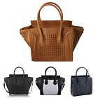 Womens Ladies Designer Celebrity Leather Style Tote Satchel Studded Smile