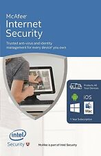 McAfee Internet Security 2016/2017 1 Year 3 User PC Anti Virus Software RRP £50