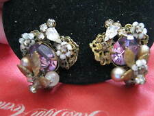 1940s wired Clip Earrings by ROBERT, Pearls, SYNTHETC AMETHYSTS & RHINESTONES