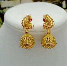 Indian Skirt Saree Jewelry 22KGoldplated Jhumki Jhumka Chandelier Earrings #356