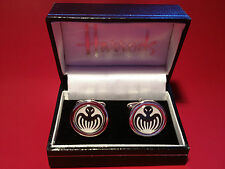 JAMES BOND BADDIE (SPECTRE) HIGH QUALITY SILVER PLATED CUFF LINKS IN HARRODS BOX