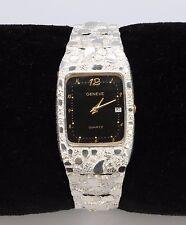 """Black Geneve Rectangle Watch in Sterling Silver Nugget Style 8"""" Adj. Wrist Watch"""