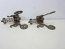 2 Antique Ornate Butterfly Shaped Brass Hat/Coat Hooks