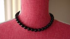 Tiffany & Co. Sterling Silver Black Onyx Round Bead  16' Necklace