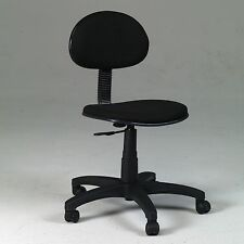 Basic Desk Height Office Task Black Chair | Swivel Mobile Computer Short Cheap