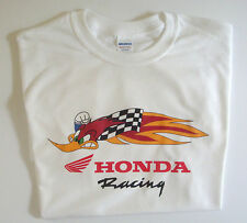 T-shirt white Honda racing roadrunner 100% cotton size small