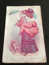 large victorian valentines card ( lady with her pet dog )