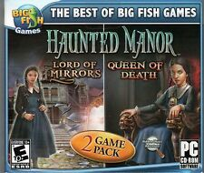 HAUNTED MANOR LORD OF MIRRORS + QUEEN OF DEATH Hidden Object PC Game CD-ROM NEW