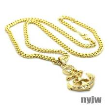 """NEW ICED OUT NAUTICA BOAT SAILOR ANCHOR PENDANT 5mm 24"""" CUBAN LINK CHAIN KSP042T"""