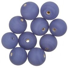 Matte Opaque Purple Round Glass Beads 12mm Pack of 10 (A48/4)