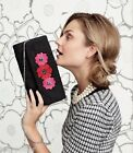 VERA BRADLEY Celebration Clutch CLASSIC BLACK CHEERY RED BLOSSOMS Bag Purse $58