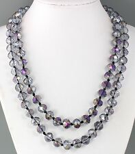 "VINTAGE LONG 42"" BLUE AB AURORA BOREALIS CRYSTAL GLASS BEAD NECKLACE"
