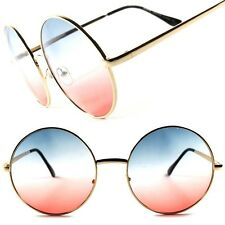 Blue Pink Two Tone Lens Vintage Retro Oversized Gold Round Hot Womens Sunglasses