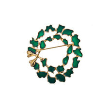 Lux Accessories Holiday Christmas Xmas Green Gold Tone Wreath Brooch Pin